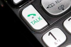 Fim do botão do telefone da conversa acima do tiro foto de stock royalty free