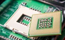 Fim do componente do processador central do computador acima Imagem de Stock
