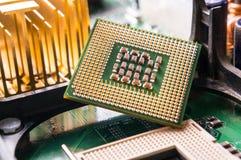 Fim do componente do processador central do computador acima Fotos de Stock Royalty Free
