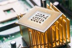 Fim do componente do processador central do computador acima Fotos de Stock