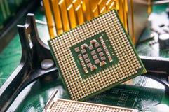 Fim do componente do processador central do computador acima Foto de Stock Royalty Free
