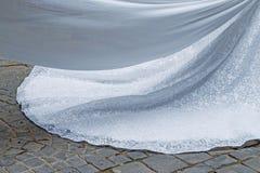 Fim do detalhe do vestido de casamento acima imagem de stock royalty free