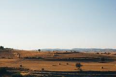 Fim do dia sobre o campo com bala de feno Fotografia de Stock