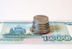 Fim do dinheiro do rublo acima Fotografia de Stock Royalty Free