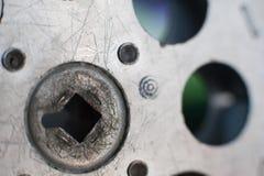 fim do extremo da peça do carretel da projeção do filme de 16 milímetros acima Foto de Stock