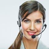 Fim do operador do apoio ao cliente acima do retrato smili do centro de atendimento Fotos de Stock