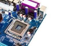 Fim do processador central do soquete do porto do cartão-matriz acima Isolado no backgr branco Foto de Stock