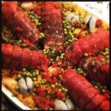 Fim do risoto dos moluscos da lagosta acima imagens de stock royalty free