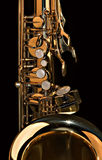 Fim do saxofone do conteúdo acima imagens de stock royalty free