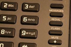 Fim do teclado numérico do telefone do hotel acima fotos de stock royalty free
