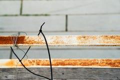 Fim do terraço do corrimão da oxidação acima fotos de stock