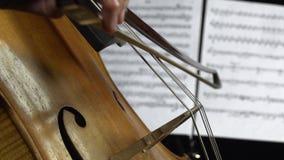 Fim do violoncelo acima na parte de trás das folhas com notas Vista lateral vídeos de arquivo