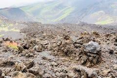 Fim endurecido da lava acima no campo de lava em Monte Etna imagens de stock