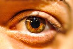 Fim fêmea do olho humano acima Fotografia de Stock