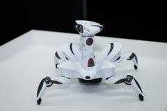 Fim futurista branco moderno do robô do humanoid acima do tiro fim branco do robô da aranha acima fotos de stock royalty free