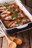 Fim italiano do parmigiana do alla de Melanzane da beringela acima em di do cozimento Fotos de Stock Royalty Free