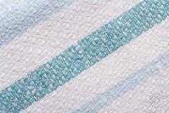 Fim listrado textura do tecido de algodão acima. macro. Fotos de Stock Royalty Free