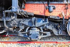 Fim locomotivo japonês velho do trem das rodas acima Fotografia de Stock