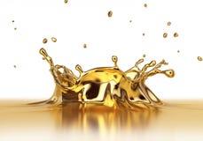 Fim líquido do spash do ouro acima Fotografia de Stock