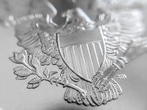Fim macro acima de um americano Eagle Bullion Coin da prata de 999% fotografia de stock