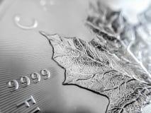Fim macro acima de uma moeda canadense 999% de prata do lingote da folha de bordo imagem de stock