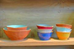 Fim mediterrâneo do kitchenware do estilo acima da vista foto de stock