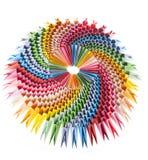 Fim modular do origami do arco-íris brilhante acima Fotografia de Stock