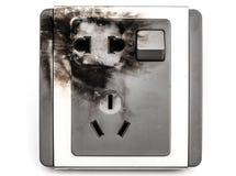 Fim para fora queimado do soquete bonde acima no branco Fotografia de Stock