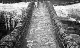 Fim preto e branco acima da vista da ponte de pedra histórica das épocas romanas em um vale isolado da montanha imagens de stock