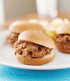 Fim puxado do sanduíche da carne de porco acima Imagem de Stock