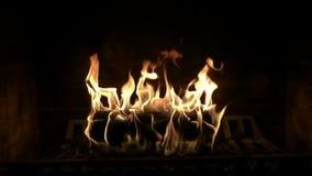 Fim satisfying do movimento lento da atmosfera confortável bonita fascinante acima da vista na chama de madeira do fogo que queim filme
