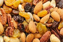 Fim saudável Nuts misturado do petisco acima foto de stock