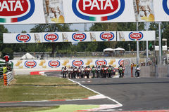 FIM Superbike World Championship - Race 2. Misano Adriatico, Italy - June 21, 2015: Bikes prepare to leave the grid at the start during race one at the Misano Stock Photos