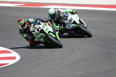 FIM Superbike World Championship - Race 2. Misano Adriatico, Italy - June 21, 2015: Kawasaki ZX-10R of Team Pedercini, driven by SALOM David in action during the Royalty Free Stock Photo