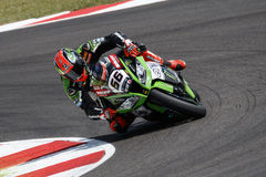 FIM Superbike World Championship - Superpole (2) Session. Misano Adriatico, Italy - June 20: Kawasaki ZX-10R of KAWASAKI RACING TEAM, driven by SYKES Tom in Royalty Free Stock Photos