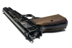 Fim velho da pistola de 9 milímetros acima no fundo branco Fotos de Stock Royalty Free