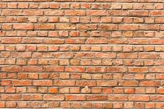 Fim velho da textura do fundo da parede de tijolo vermelho acima a parede bricked textured o teste padrão para o replicate contín fotos de stock