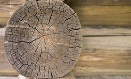 Fim velho do log do círculo da parede acima Fotografia de Stock Royalty Free