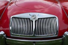 Fim vermelho clássico do automóvel de MG acima imagem de stock royalty free
