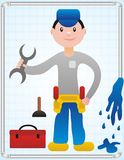 Fimin The Plumber. Plumber fixing a leaking in a blue bathroom with tools Stock Image