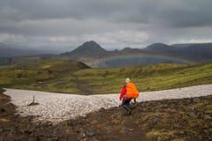 Fimmvorduhals trek i Island Arkivbilder