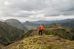 Fimmvorduhals trek i Island Arkivfoton