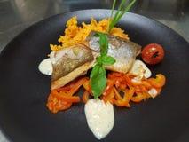 Fin äta middag platta för lyxmat royaltyfri fotografi
