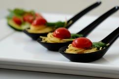 Fin äta middag spagetti Arkivbilder