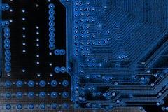 Fin abstraite des circuits électroniques en technologie sur le fond d'ordinateur de Mainboard photo stock