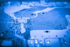 Fin abstraite des circuits électroniques en technologie sur le fond d'ordinateur de Mainboard photos stock