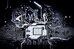 Fin abstraite des circuits électroniques en technologie sur le fond d'ordinateur de Mainboard image libre de droits