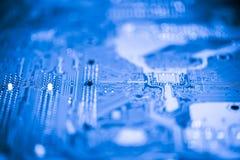 Fin abstraite des circuits électroniques en technologie sur le fond d'ordinateur de Mainboard photographie stock