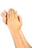 Fin applaudie masculine de geste de mains  Photographie stock libre de droits