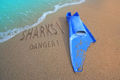 Fin bitten and sharks danger Royalty Free Stock Photo